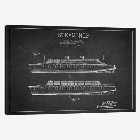 Steamship Charcoal Patent Blueprint Canvas Print #ADP2650} by Aged Pixel Canvas Art Print
