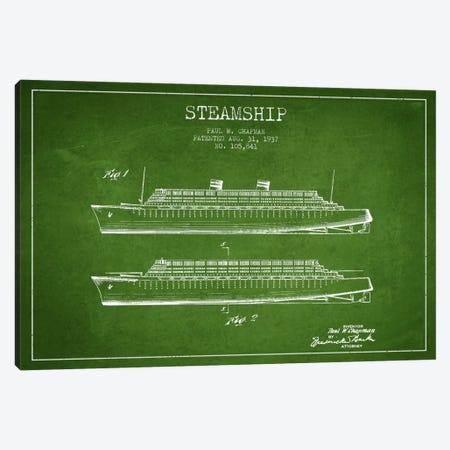 Steamship Green Patent Blueprint Canvas Print #ADP2651} by Aged Pixel Art Print
