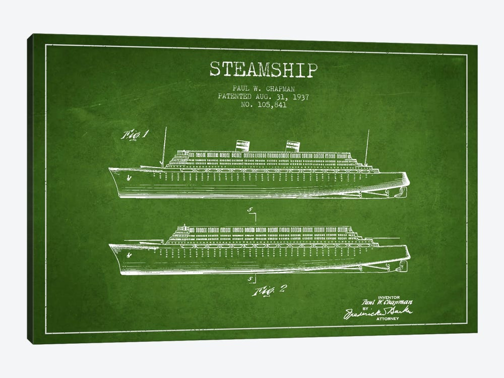 Steamship Green Patent Blueprint by Aged Pixel 1-piece Canvas Wall Art