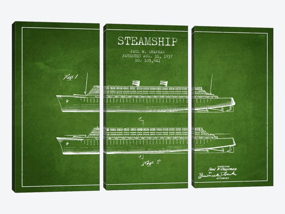 Steamship Green Patent Blueprint by Aged Pixel 3-piece Canvas Wall Art