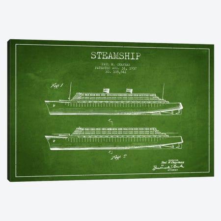 Steamship Green Patent Blueprint Canvas Print #ADP2651} by Aged Pixel Art Print