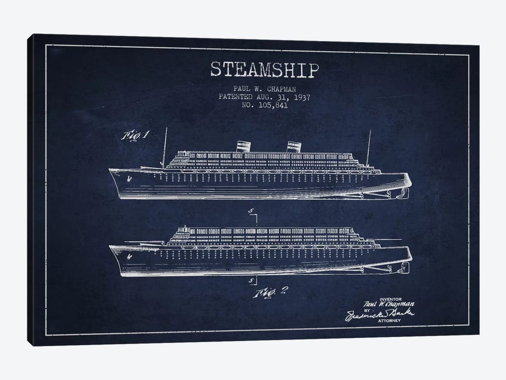 Steamship Navy Blue Patent Blueprint by Aged Pixel 1-piece Art Print