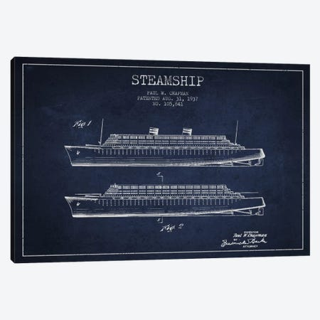 Steamship Navy Blue Patent Blueprint Canvas Print #ADP2652} by Aged Pixel Canvas Art Print