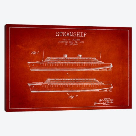 Steamship Red Patent Blueprint Canvas Print #ADP2653} by Aged Pixel Canvas Print