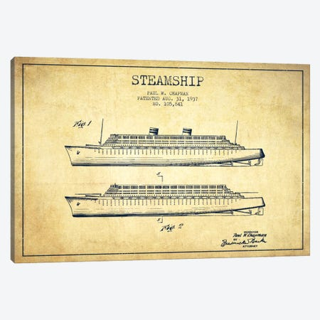 Steamship Vintage Patent Blueprint Canvas Print #ADP2654} by Aged Pixel Canvas Wall Art