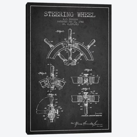 Steering Wheel Charcoal Patent Blueprint Canvas Print #ADP2655} by Aged Pixel Canvas Artwork