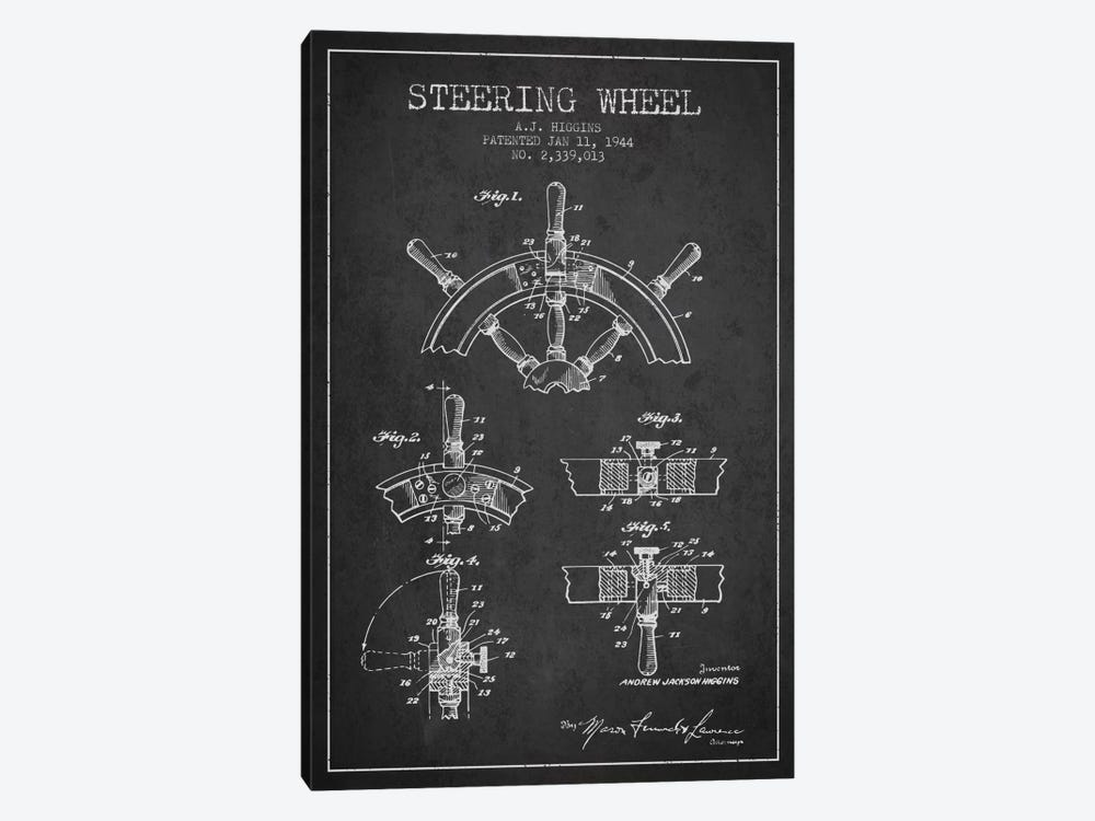 Steering Wheel Charcoal Patent Blueprint by Aged Pixel 1-piece Canvas Artwork