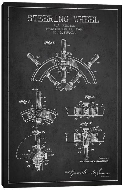 Steering Wheel Charcoal Patent Blueprint Canvas Art Print