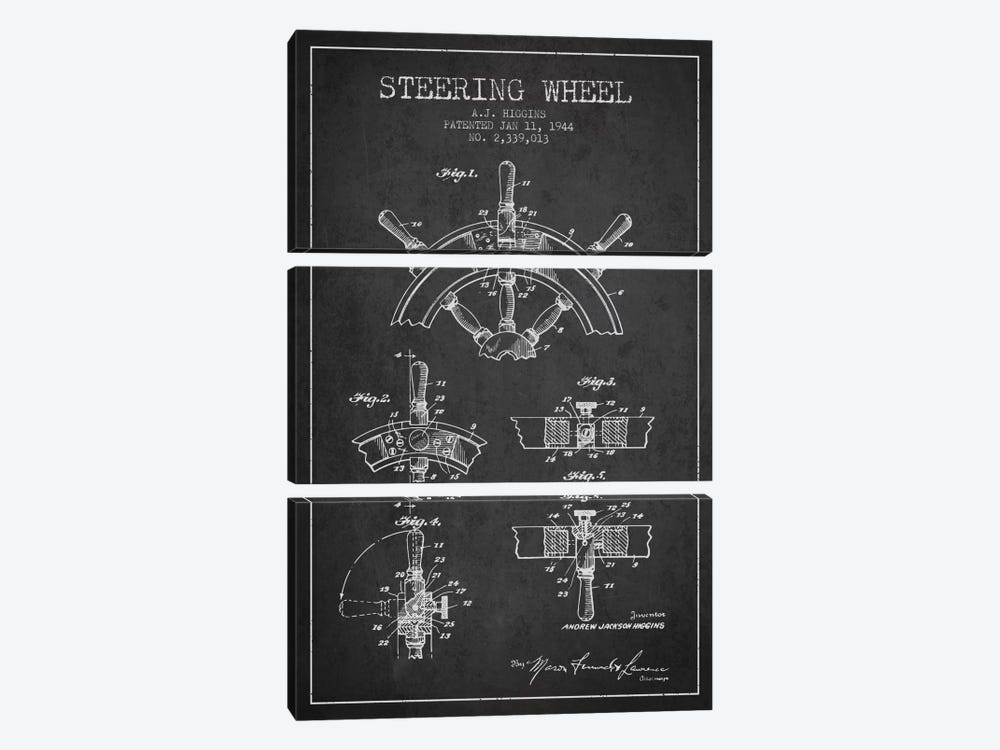 Steering Wheel Charcoal Patent Blueprint by Aged Pixel 3-piece Canvas Artwork