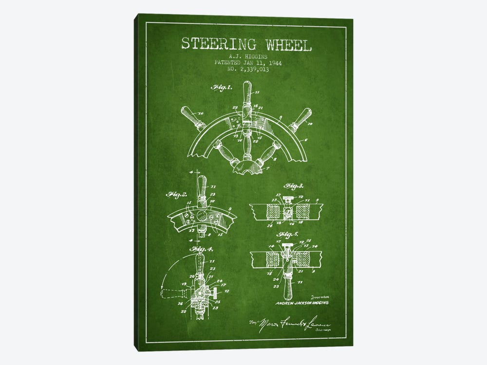 Steering Wheel Green Patent Blueprint 1-piece Canvas Art Print