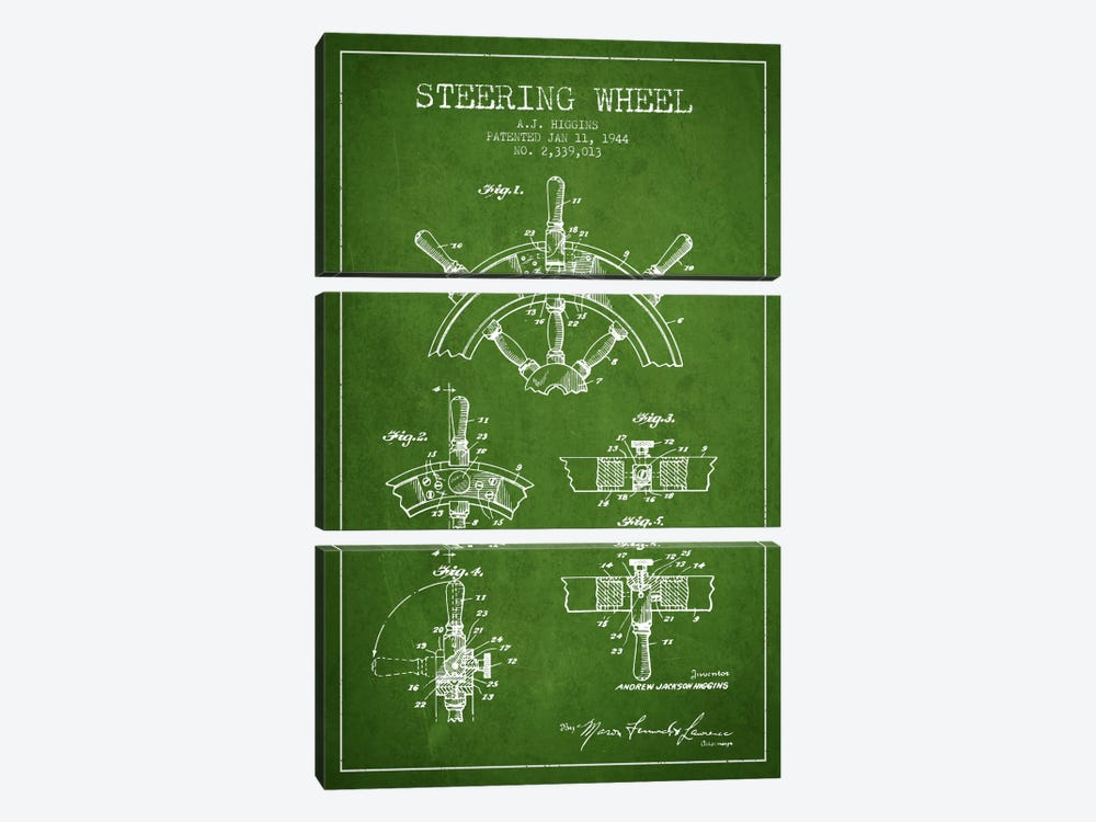 Steering Wheel Green Patent Blueprint by Aged Pixel 3-piece Art Print