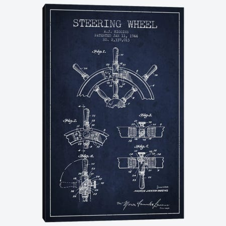 Steering Wheel Navy Blue Patent Blueprint Canvas Print #ADP2657} by Aged Pixel Canvas Wall Art