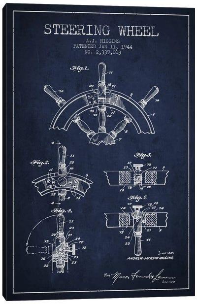 Steering Wheel Navy Blue Patent Blueprint Canvas Art Print