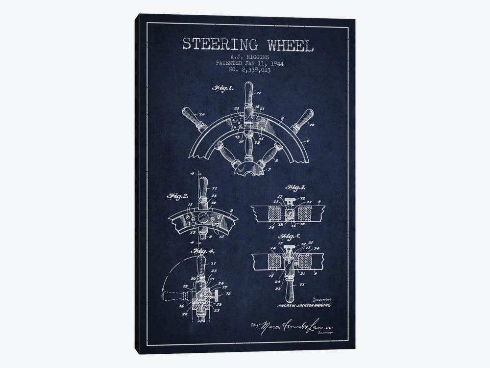 Steering Wheel Navy Blue Patent Blueprint by Aged Pixel 1-piece Canvas Art
