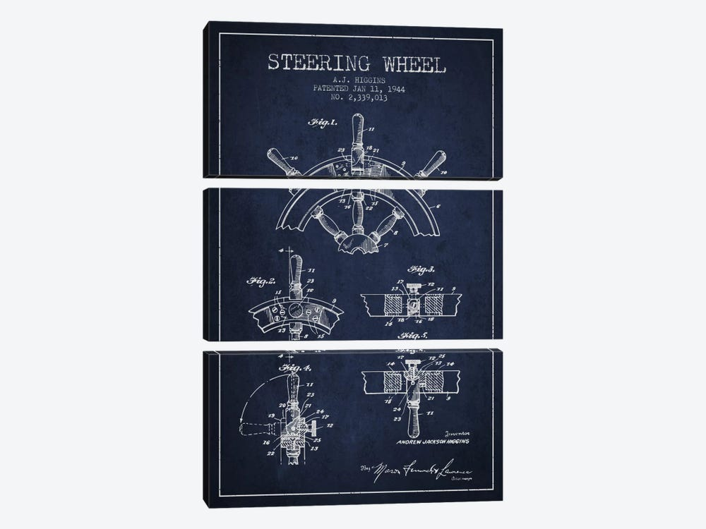 Steering Wheel Navy Blue Patent Blueprint by Aged Pixel 3-piece Canvas Artwork