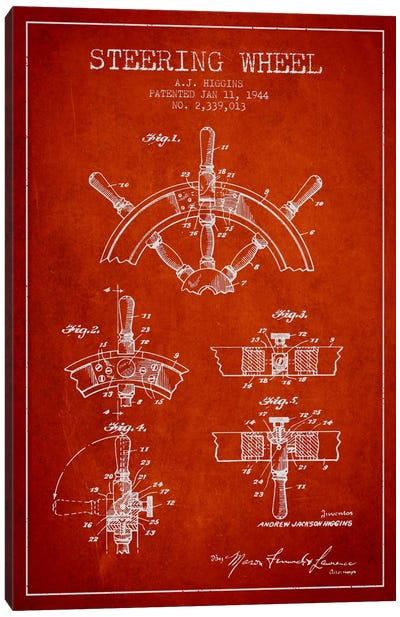 Steering Wheel Red Patent Blueprint Canvas Art Print