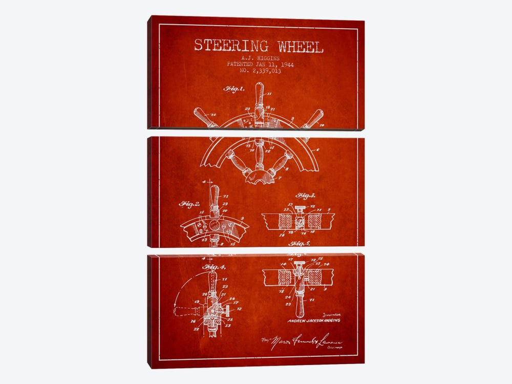 Steering Wheel Red Patent Blueprint by Aged Pixel 3-piece Art Print