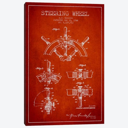 Steering Wheel Red Patent Blueprint Canvas Print #ADP2658} by Aged Pixel Canvas Print