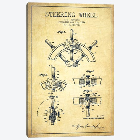Steering Wheel Vintage Patent Blueprint Canvas Print #ADP2659} by Aged Pixel Canvas Print