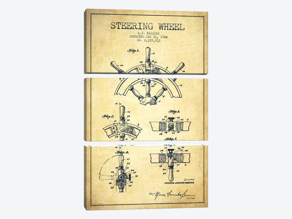Steering Wheel Vintage Patent Blueprint by Aged Pixel 3-piece Canvas Artwork