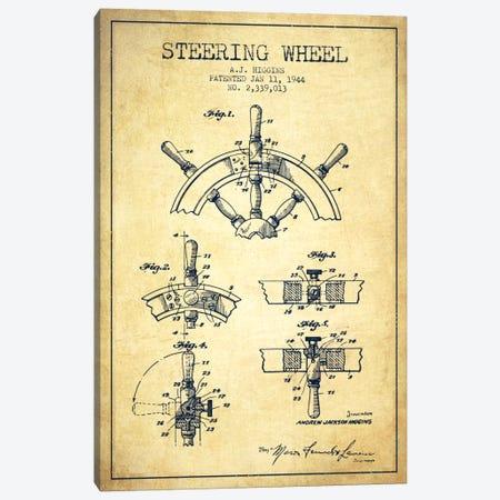 Steering Wheel Vintage Patent Blueprint Canvas Print #ADP2659} by Aged Pixel Canvas Print