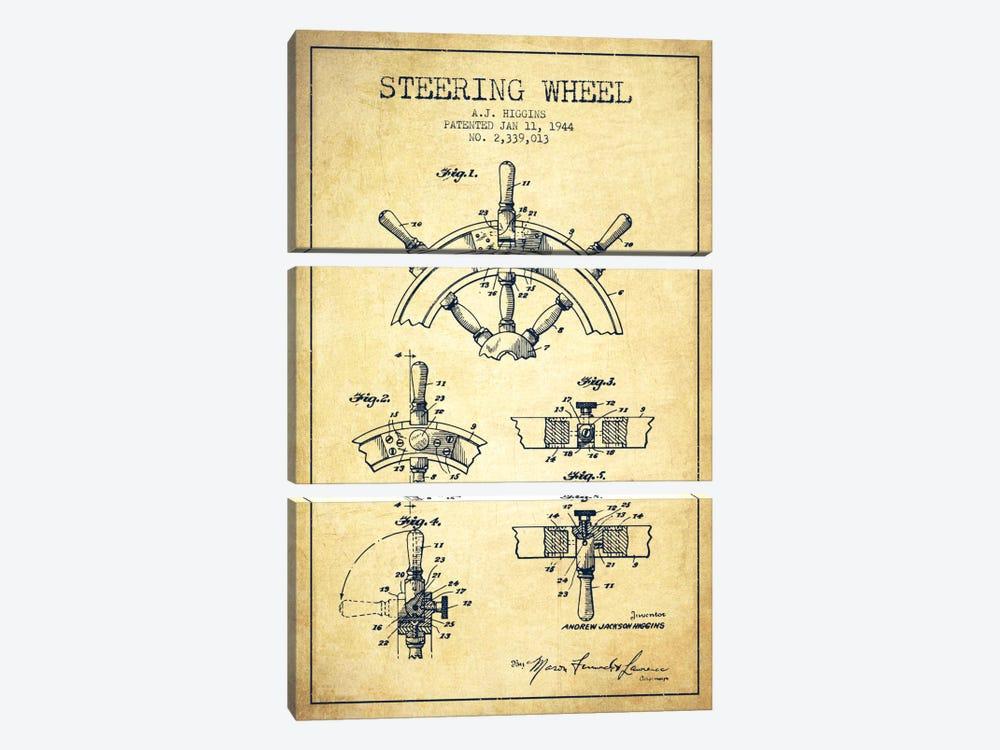 Steering Wheel Vintage Patent Blueprint by Aged Pixel 3-piece Canvas Artwork