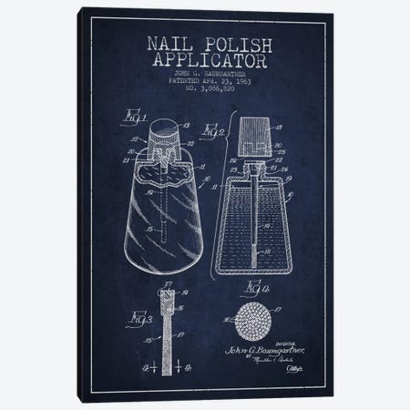 Nail Applicator Navy Blue Patent Blueprint Canvas Print #ADP265} by Aged Pixel Canvas Art