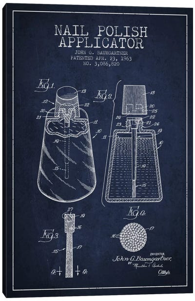 Nail Applicator Navy Blue Patent Blueprint Canvas Art Print
