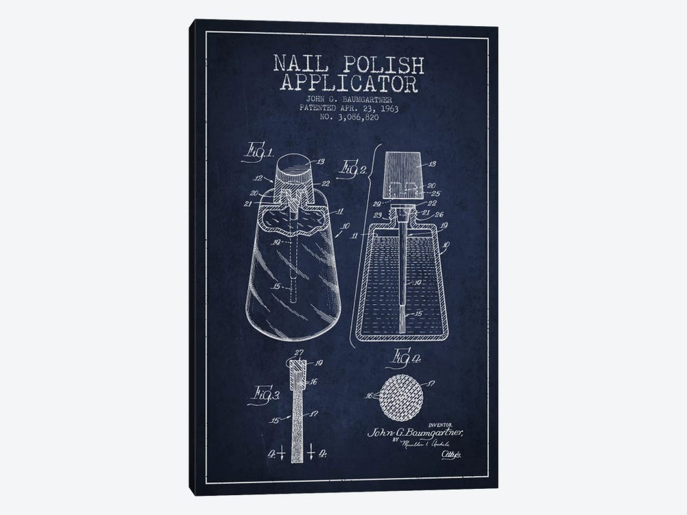 Nail Applicator Navy Blue Patent Blueprint by Aged Pixel 1-piece Art Print