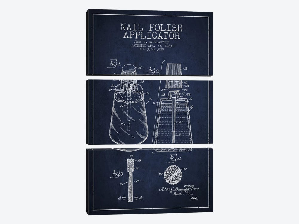 Nail Applicator Navy Blue Patent Blueprint by Aged Pixel 3-piece Canvas Print