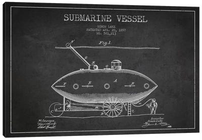 Submarine Vessel Charcoal Patent Blueprint Canvas Art Print