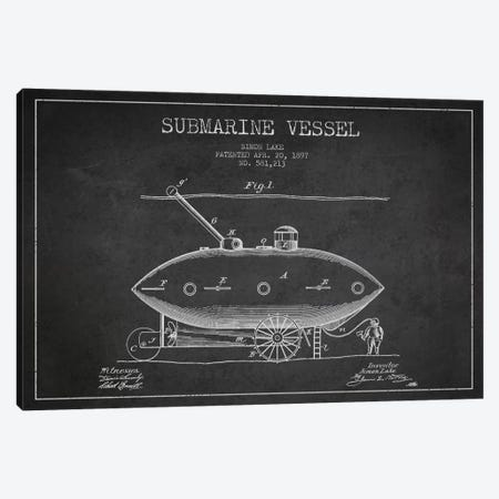 Submarine Vessel Charcoal Patent Blueprint Canvas Print #ADP2660} by Aged Pixel Canvas Artwork