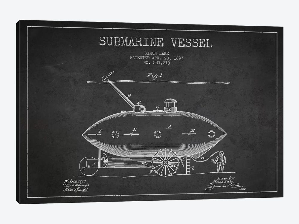 Submarine Vessel Charcoal Patent Blueprint by Aged Pixel 1-piece Canvas Wall Art