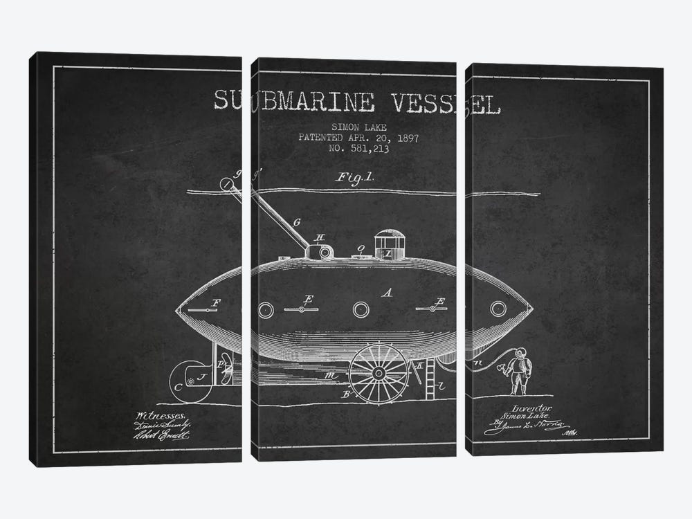 Submarine Vessel Charcoal Patent Blueprint by Aged Pixel 3-piece Canvas Art