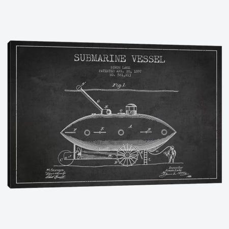 Submarine Vessel Charcoal Patent Blueprint Canvas Print #ADP2660} by Aged Pixel Canvas Artwork