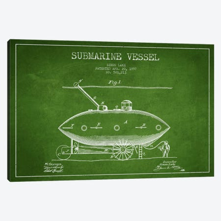 Submarine Vessel Green Patent Blueprint Canvas Print #ADP2661} by Aged Pixel Canvas Art