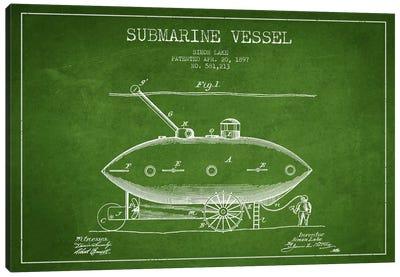 Submarine Vessel Green Patent Blueprint Canvas Print #ADP2661