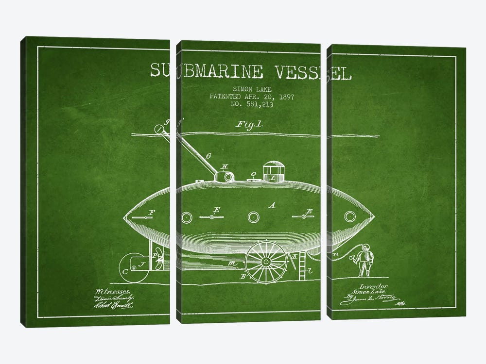 Submarine Vessel Green Patent Blueprint by Aged Pixel 3-piece Art Print