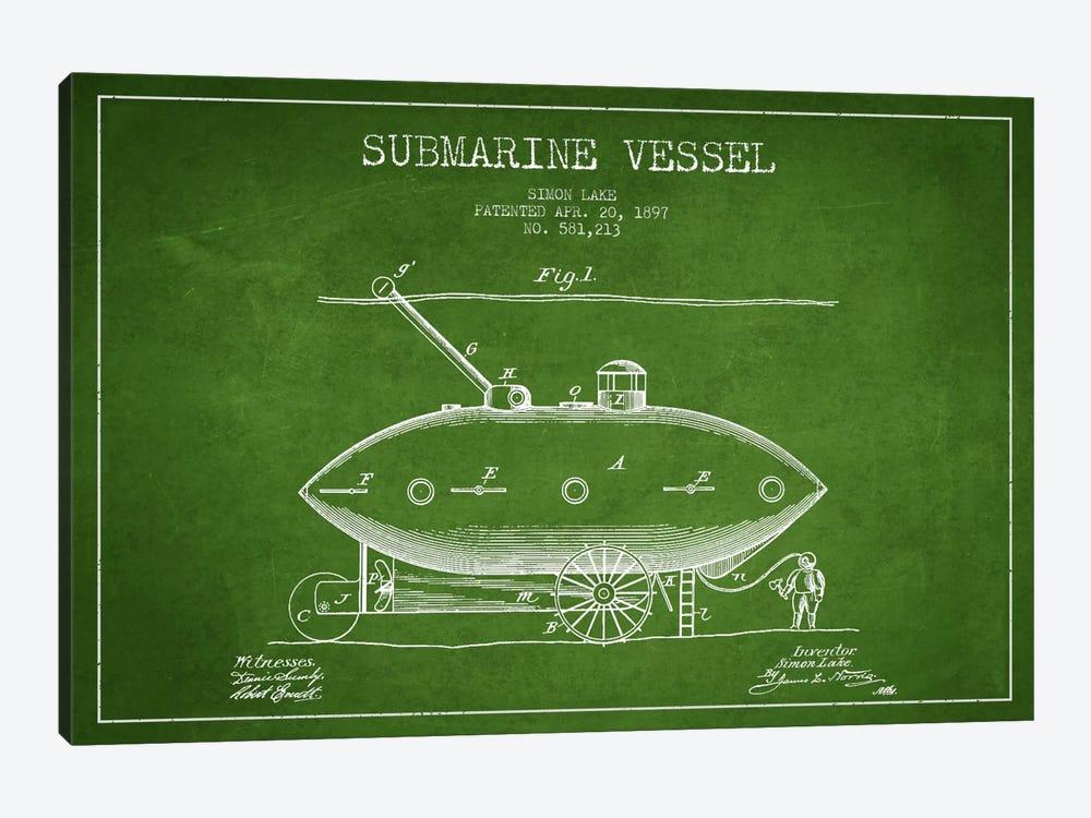 Submarine Vessel Green Patent Blueprint by Aged Pixel 1-piece Canvas Print