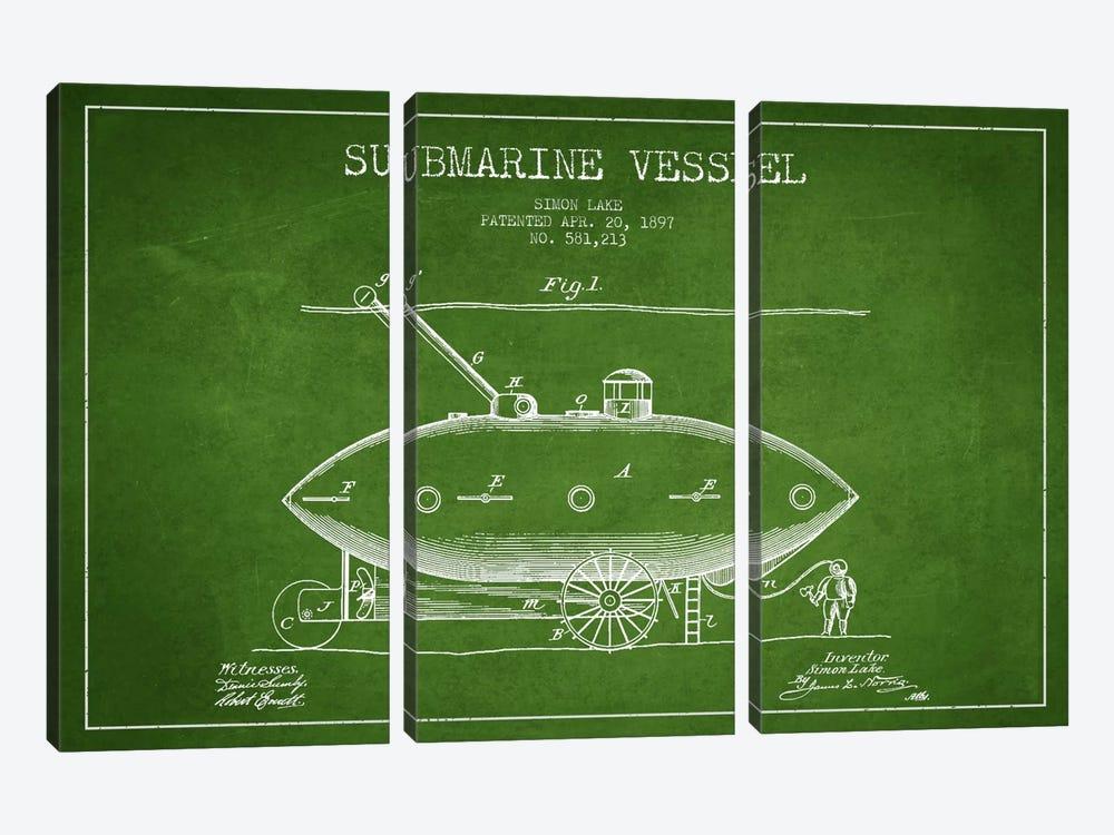 Submarine Vessel Green Patent Blueprint by Aged Pixel 3-piece Art Print