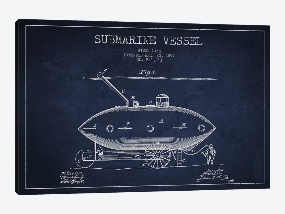 Submarine Vessel Navy Blue Patent Blueprint by Aged Pixel 1-piece Canvas Art