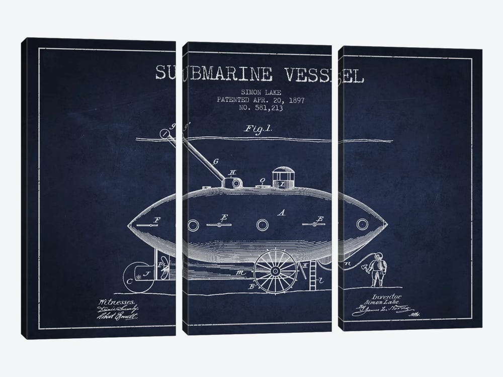 Submarine Vessel Navy Blue Patent Blueprint by Aged Pixel 3-piece Canvas Artwork