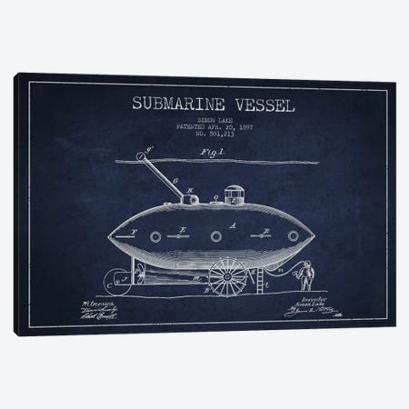 Submarine Vessel Navy Blue Patent Blueprint Canvas Print #ADP2662} by Aged Pixel Canvas Artwork
