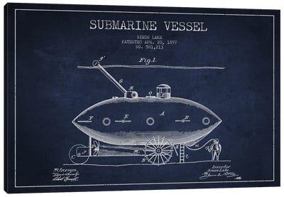 Submarine Vessel Navy Blue Patent Blueprint Canvas Print #ADP2662