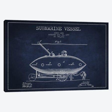 Submarine Vessel Navy Blue Patent Blueprint Canvas Print #ADP2662} by Aged Pixel Canvas Artwork