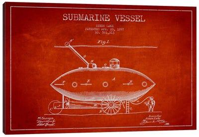 Submarine Vessel Red Patent Blueprint Canvas Print #ADP2663