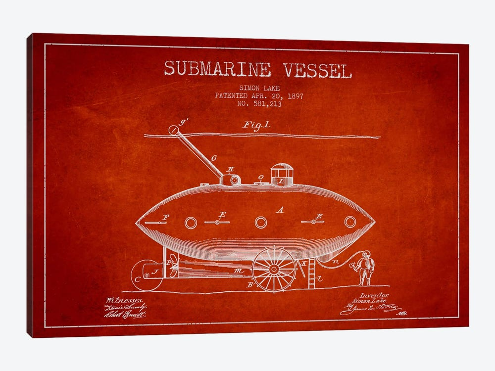 Submarine Vessel Red Patent Blueprint 1-piece Canvas Art Print
