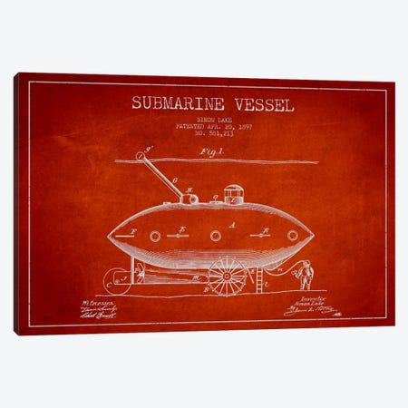 Submarine Vessel Red Patent Blueprint Canvas Print #ADP2663} by Aged Pixel Canvas Wall Art