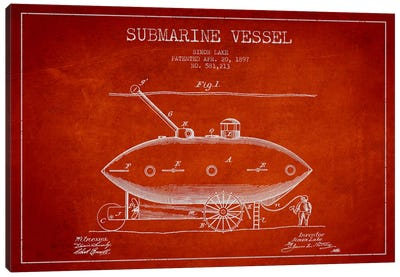 Submarine Vessel Red Patent Blueprint Canvas Art Print