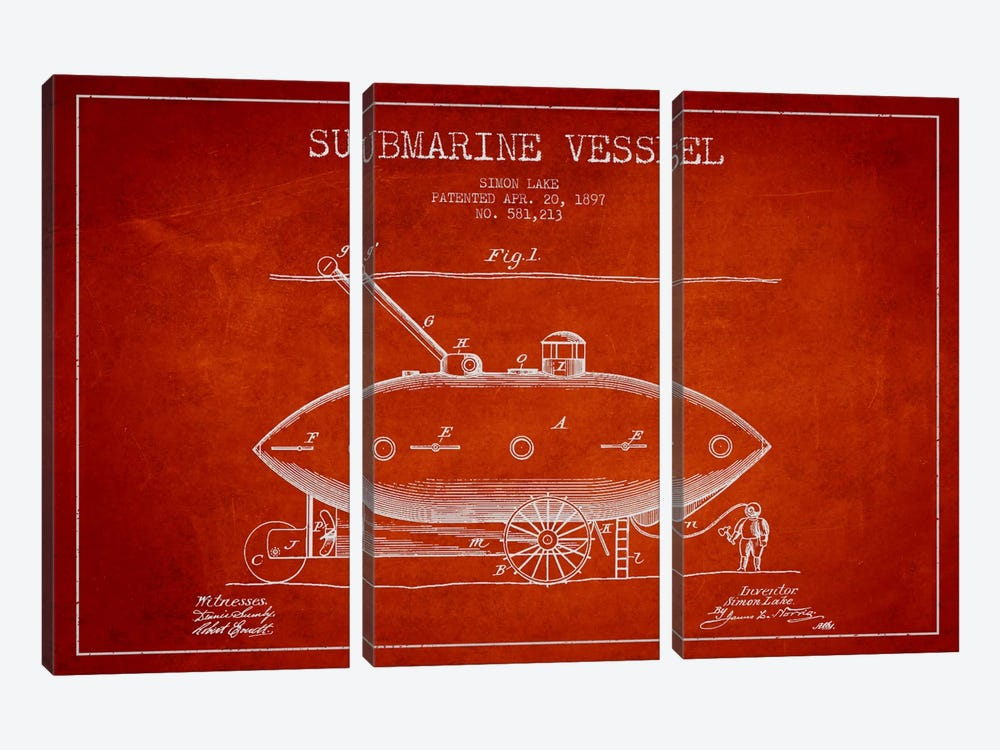Submarine Vessel Red Patent Blueprint by Aged Pixel 3-piece Canvas Print